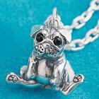 パグ犬ペンダントシルバーアクセサリーネックレス犬いぬ十二支干支戌オニキス天然石SILVER925