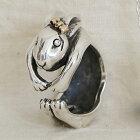 うさぎの花子リング送料無料ウサギ兎干支十二支卯年動物モチーフ指輪18金K18ピンクゴールドシルバーアクセサリーSILVER925
