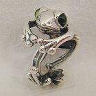 カエルリング(ペリドット)かえる蛙送料無料シルバーアクセサリー天然石8月誕生石SILVER925