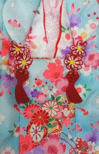 七五三着物3歳ひな祭り正月753箱無し雛祭り着物三歳女の子被布セット水色白巾着髪飾り草履巾着袋メーカー見切り品足袋と半衿は別売りです。