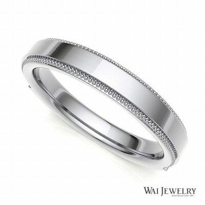 プラチナ一粒ダイヤリングマリッジペアリング2本セットストレートリングミルグレイン上品【結婚指輪】pt900