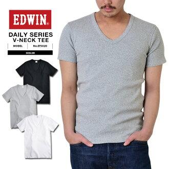 愛德溫 · 范德薩每天都 ET5020 肋 V 脖子短袖 T 襯衫男式休閒上衣 t 恤 V 領內衣羅紋 v 領 h/s 三通肋材料 [WIP] 軍事