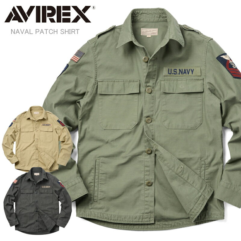 AVIREX アビレックス 6175146 NAVAL PATCH ミリタリーシャツ《WIP》【N】