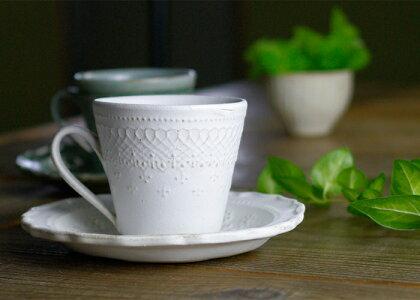 フレンチレースコーヒーカップ&ソーサー(マットホワイト)益子焼マグカップティーカッププレート小皿セットおしゃれ食洗機対応電子レンジ使用可)ギフトプレゼントお家カフェ