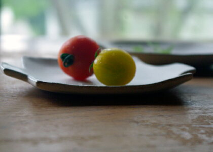 【父の日・名入れ】輪花の変形小皿【ピンク】送料無料!かわいいお花の形の北欧風小物を入れてもかわいい豆皿小皿和食器豆皿シンプル小皿醤油小皿漬物小皿【益子焼わかさま陶芸】