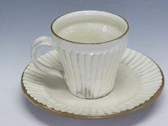 粉引しのぎコーヒーカップ(益子焼 窯元から)人気の白いコーヒーカップ&ソーサー(コーヒーカ...
