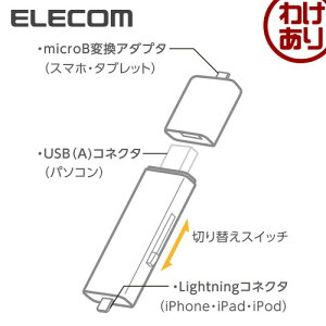 ロジテックLightningコネクタ搭載USB3.0メモリ/64GB/microUSB変換アダプタ付:LMF-LGU364GWH【税込3240円以上で送料無料】[訳あり][Logitecロジテック:エレコムわけありショップ][直営]