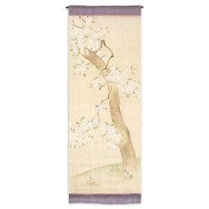 タペストリー:日本市 タペストリー 小禽に桜風