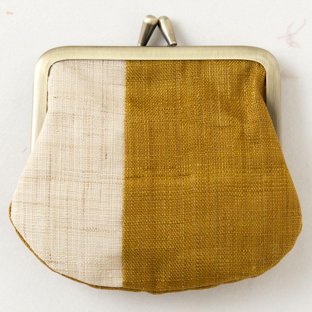 遊 中川 がま口 手織り麻 黄唐茶 Yu-nakagawa Purse hand-woven hemp ※在庫限り