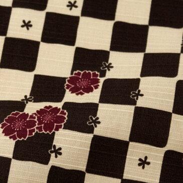チーフ風呂敷 江戸千代紙いせ辰 市松桜 茶 50cm幅綿ふろしき Isetatsu Furoshiki, Wrapping cloth