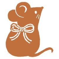 水引リボンねずみ (11003-005) 年賀状イラストスタンプ・大 こどものかお Stamp for the New Year's card