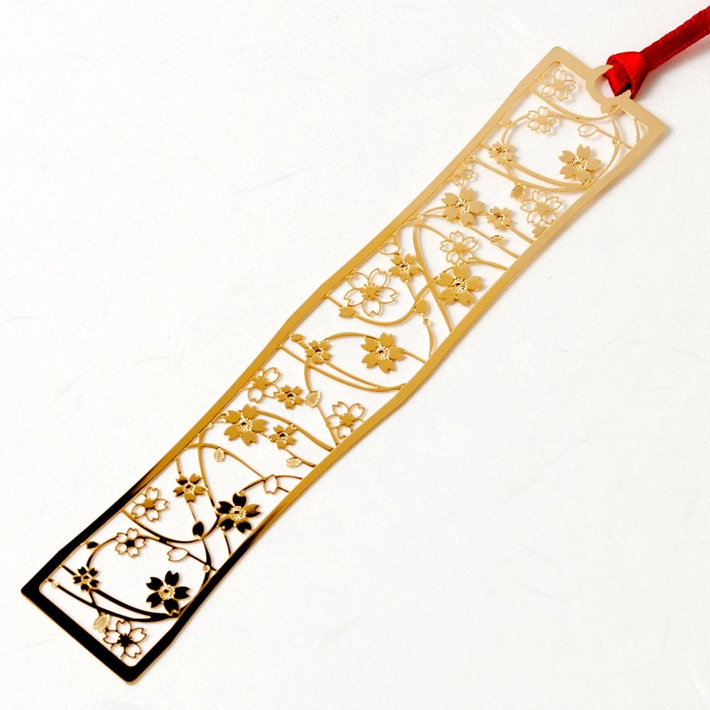 和柄ブックマーカー 桜吹雪 (WAG001) 金の栞シリーズ 24K表面加工 金属製ブックマーカー Metal bookmark, Japanese pattern