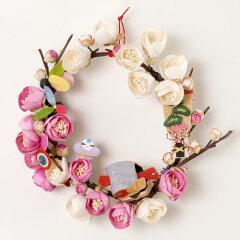 正月飾り 和紙花リース 紅白梅01
