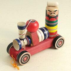 昭和のおもちゃ・木地玩具:木地玩具 べんけい号(けん玉・だるま落としセット)