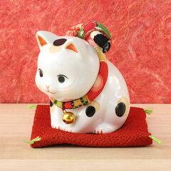招き猫・陶器:薬師窯 招き猫彩絵 ふく福おじぎ猫(中)(7292)