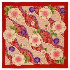 風呂敷68cm・二巾:板谷なおみ ちりめん友禅風呂敷二巾斜取立涌桜 赤