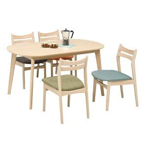 ダイニングセット ダイニングテーブルセット 木製 4人掛け ダイニング5点 モダン チェア ビーチ 幅140cm 食卓セット 送料無料