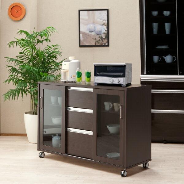 キッチンカウンター キッチンボード 両面カウンター レンジボード 木製 キャスター付き 完成品 幅120cm 送料無料
