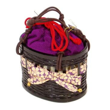 売りつくし・在庫処分!子供用カゴ巾着 「はいからさん風バッグ」(紫)