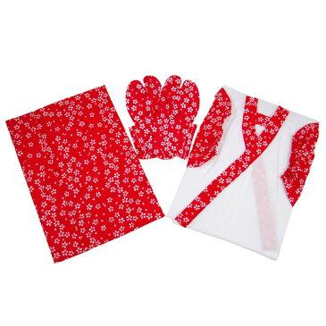 【5〜6歳用】子供用肌着&足袋セット「小桜柄(赤)」