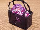 和柄かごバッグ「うさぎの型押し・巾着カゴバッグ(紫)」【メール便での発送はできません。】【P19May15】