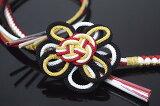 豪華!【振袖用・成人式】手組み・正絹帯締め・帯留め飾り「組紐大きな花飾り(黒×金×赤×白)」