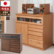 日本製 完成品 天然木アルダー材使用 FAX台兼用リビングチェスト キャビネット 幅90cm TE-0079/TE-0081