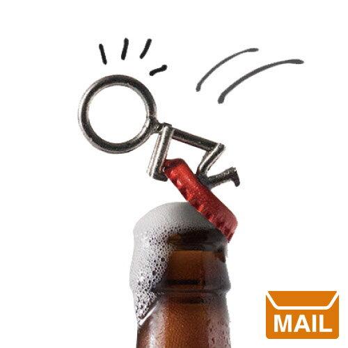 ユーモアのあるかわいい形の栓抜き。スティックマン! 。キーホルダーとして付けておけば、役にたつかも!? ビールも楽しく開けられますね!
