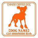 玄関やお車に♪ご自慢の犬のお名前、お誕生日入れ無料!チャイニーズクレステッドドッグ 犬 ス...