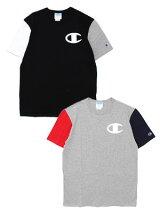 チャンピオンCHAMPIONヘリテージロゴショートスリーブTシャツHERITAGESSCOLORBLOKTEE-2.COLOR-メンズS-XLブラック/グレー