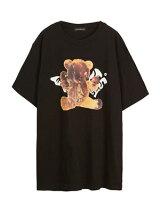 サンデーオフクラブSUNDAYOFFCLUBグラフィックTシャツTOMSADDYBEARARTWORKT-SHIRT-BLACK-メンズ1-2サイズブラック