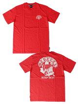 ストリートエックスStreetXプリントTシャツKEEPOUTSHORTSLEEVETEE-RED-メンズM-XLレッド
