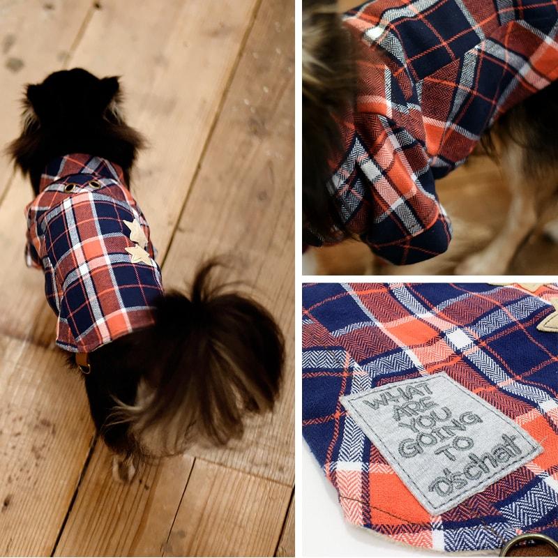 D'sチェック柄ネルシャツオレンジ / グリーンS / M / Lサイズ小型犬 / チワワ / トイプードル / ヨークシャテリアD's CHAT / ディーズチャット犬服 / 犬の服 / ドッグウェア