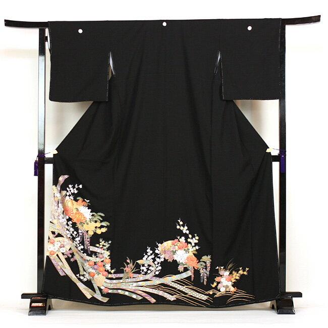 【レンタル】 留袖 レンタル 往復送料無料 着物 黒留 黒留袖 19点フルコーディネートセット 結婚式 rental とめそで kimono きもの〔消費税込み〕
