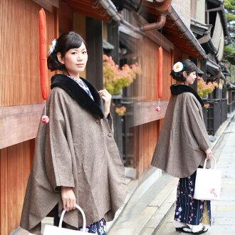 Mt. Misa MISAYAMA poncho cape coat with the kimono (kimono) coat (こーと) poncho wool blend tweed kimono woman coat fur neckband