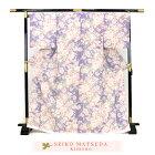 松田聖子正絹お仕立て上がり小紋着物「紫地に洋花とイチゴ」