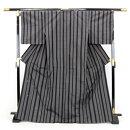 蘇州手織高級紬正絹紬着物「グレー地に黒の縦縞と金刺繍のうさぎ」