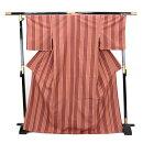 お仕立て上がり手縫い正絹紬着物「ピンク地にピンクブラウンの変わり縦縞」