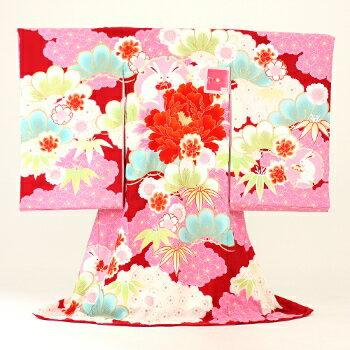 【レンタル】 お宮参り 女の子 レンタル お宮参り 着物 女 「JAPAN STYLE 赤地にうさぎと花 絵羽柄 〔送料無料〕【あす楽】」 祝着 正絹 お宮参り 産着 宮参り おみやまいり きもの キモノ 女児 女の子 kimono