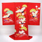 お宮参り着物女児祝着「正絹刺繍手描き友禅赤地鶴つる」