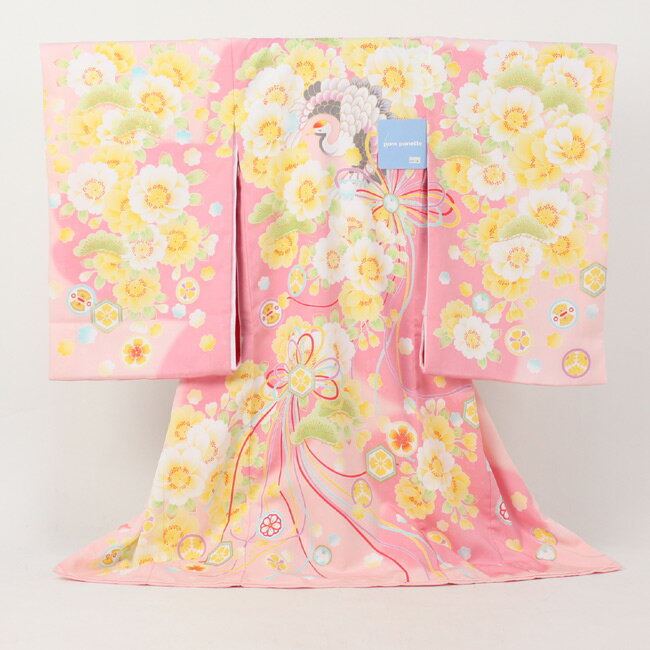 【期間限定15%OFFクーポン】【レンタル】 お宮参り 女の子 レンタル pom ponette ポンポネット 絵羽柄 祝着 1歳 女の子 ピンクに桜と鶴