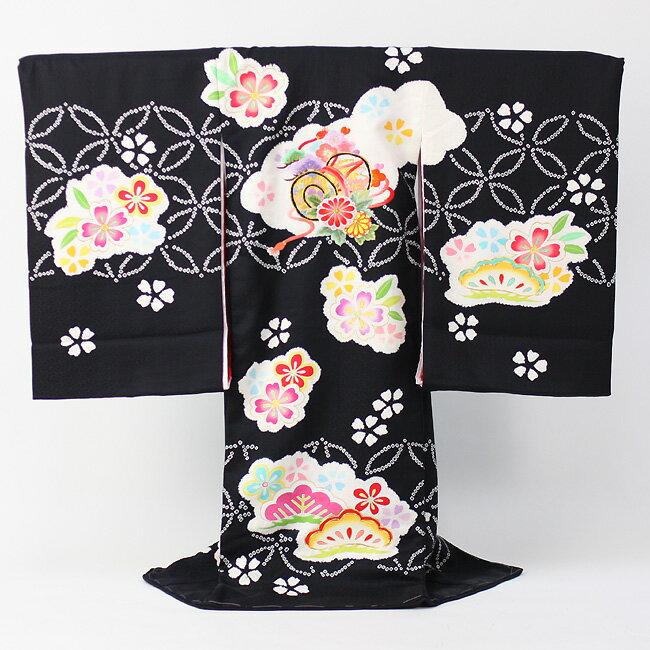 お宮参り 着物 女 「日本製・黒地に刺繍使いつつみ柄としぼり  〔送料無料〕【あす楽】」 祝着 正絹 初着 お宮参り 産着 宮参り おみやまいり きもの キモノ 女児 女の子 kimono omiyamairi 販売用:和 なでしこ