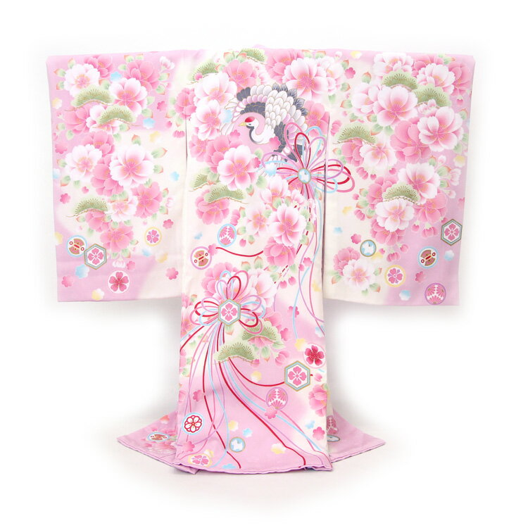 【レンタル】 お宮参り 着物 女の子 レンタル pom ponette ポンポネット 絵羽柄 祝着 1歳 女の子 ラベンダーピンクに八重桜と鶴