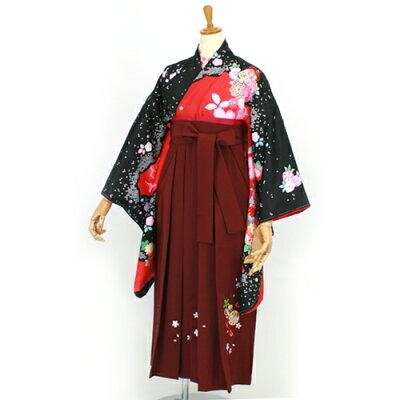 小学生の卒業式も可愛い袴 (はかま ハカマ)スタイル!二尺袖着物&袴セットのフルセット 袴(ハ...