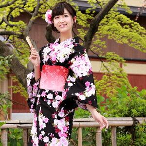 浴衣単品「黒地にピンク系流れ牡丹桜」【あす楽】
