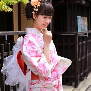 着付け簡単作り帯浴衣3点セット「クリーム地にピンクバラ」【5月中旬より順次発送】