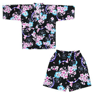 変わり織り女物甚平上下2点セット「黒地に水色撫子と花」