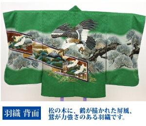 七五三着物五歳フルコーディネートセット【緑地に鷲と松、屏風袴紺地に花の紋】