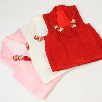 Shichigosan kimono 3 years 3 years solid jimon watermarked perfect kimono pure silk 被布 coat 七五三 ♪ (red, white, pink) [zu]