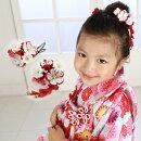 七五三女の子用紅白の花モチーフ髪飾り2点セットセットちりめん三歳七歳